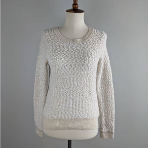 Moth Anthropologie Cream Pullover Fitted Sweater